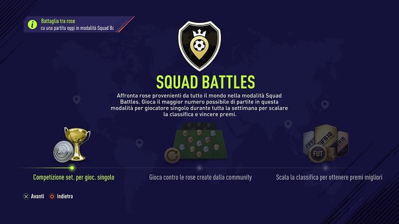 FIFA 18 Squad Battles FUT (nei menu)