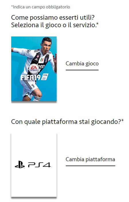 Supporto e assistenza EA Sports via chat o telefonica