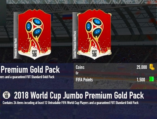 Grafica dei pacchetti nel negozio FUT dei Mondiali di Russia 2018