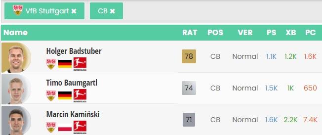 Tre DC argento dello Stoccarda, squadra della Bundesliga, come fare compravendita per la SBC