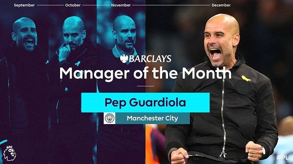 Pep Guardiola, da settembre a dicembre, premiato come allenatore del mese della Premier League