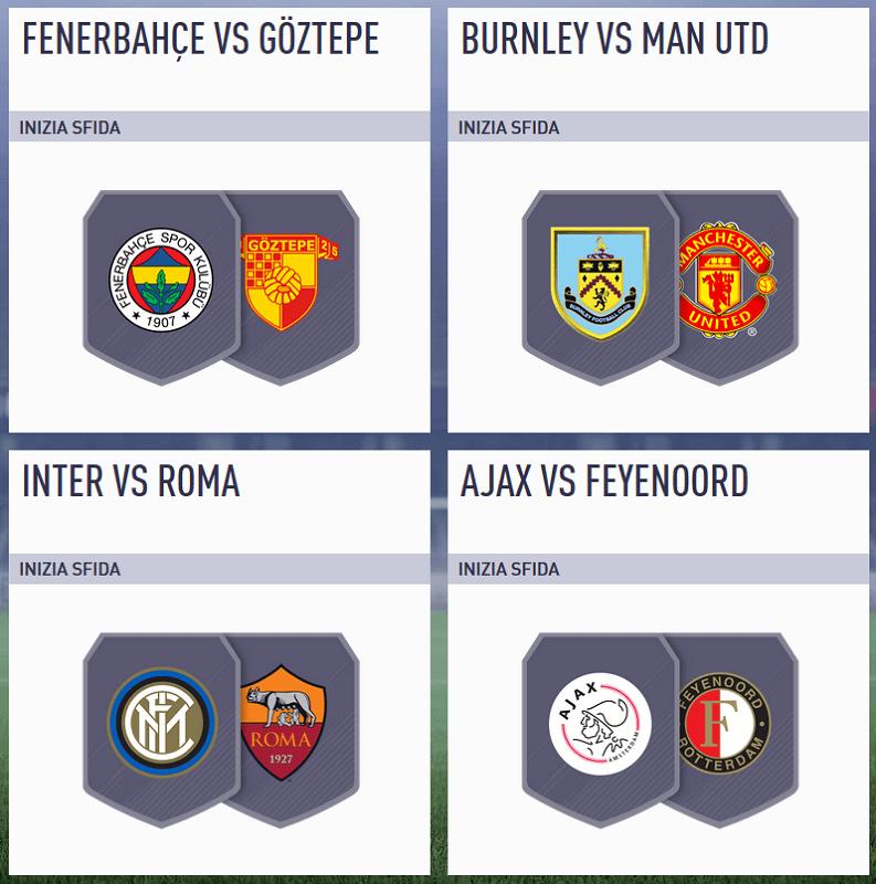 SBC Incontri Principali del 16 gennaio disponibile con Inter-Roma