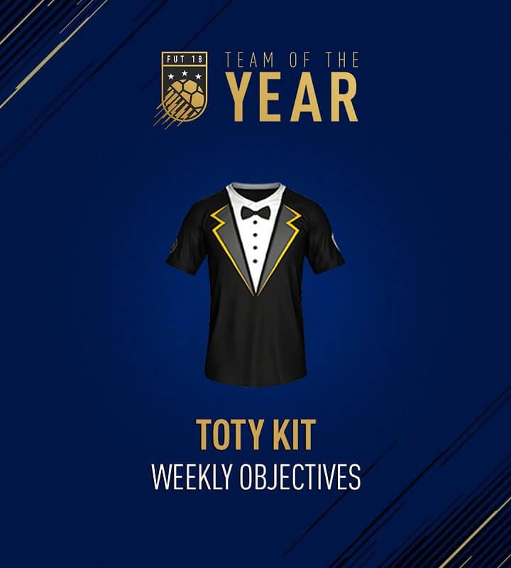 Il kit dedicato al TOTY in FIFA 18, premio degli obiettivi settimanali