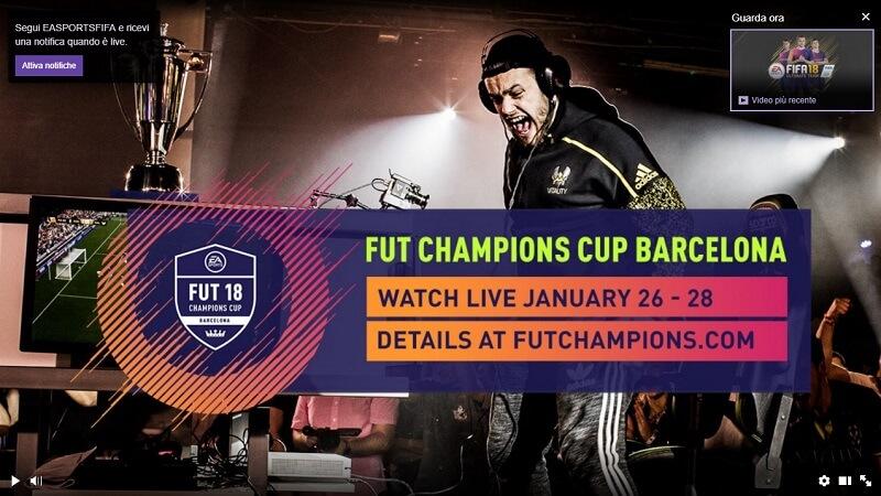 Evento LIVE della FUT Champions Cup a Barcellona dal 26 al 28 gennaio in diretta su Twitch
