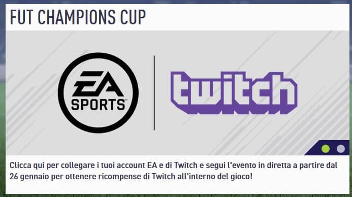 FUT Champions Cup LIVE su Twitch, l'avviso comparso nella Web App da oggi