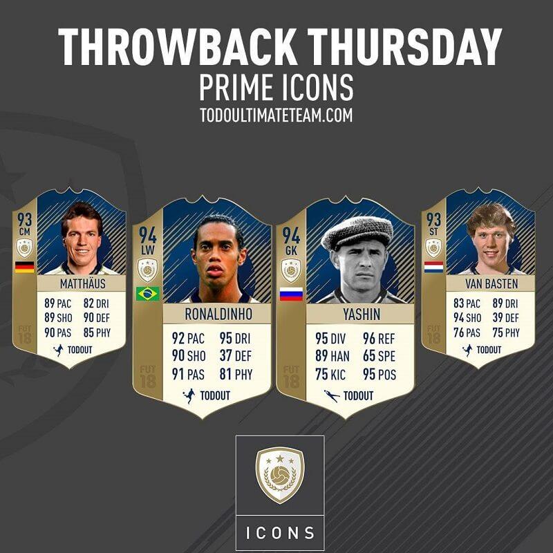 Ronaldinho, Van basten, Matthaus e Yashin, le Icone PRIME del 18 gennaio, SBC disponibili