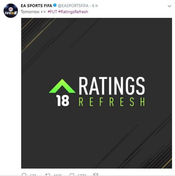 Tweet di EA Sports che annuncia i Winter Upgrades