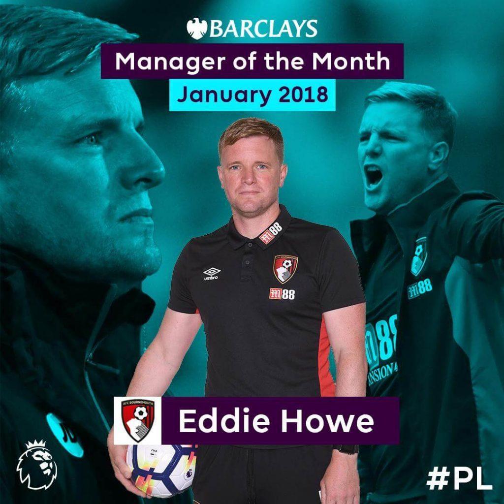 Eddie Howe, allenatore del Bournemouth è stato premiato come allenatore del mese di gennaio in BPL