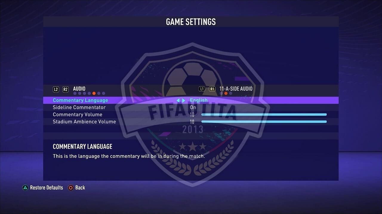 FIFA 21 menù: impostazioni audio di gioco