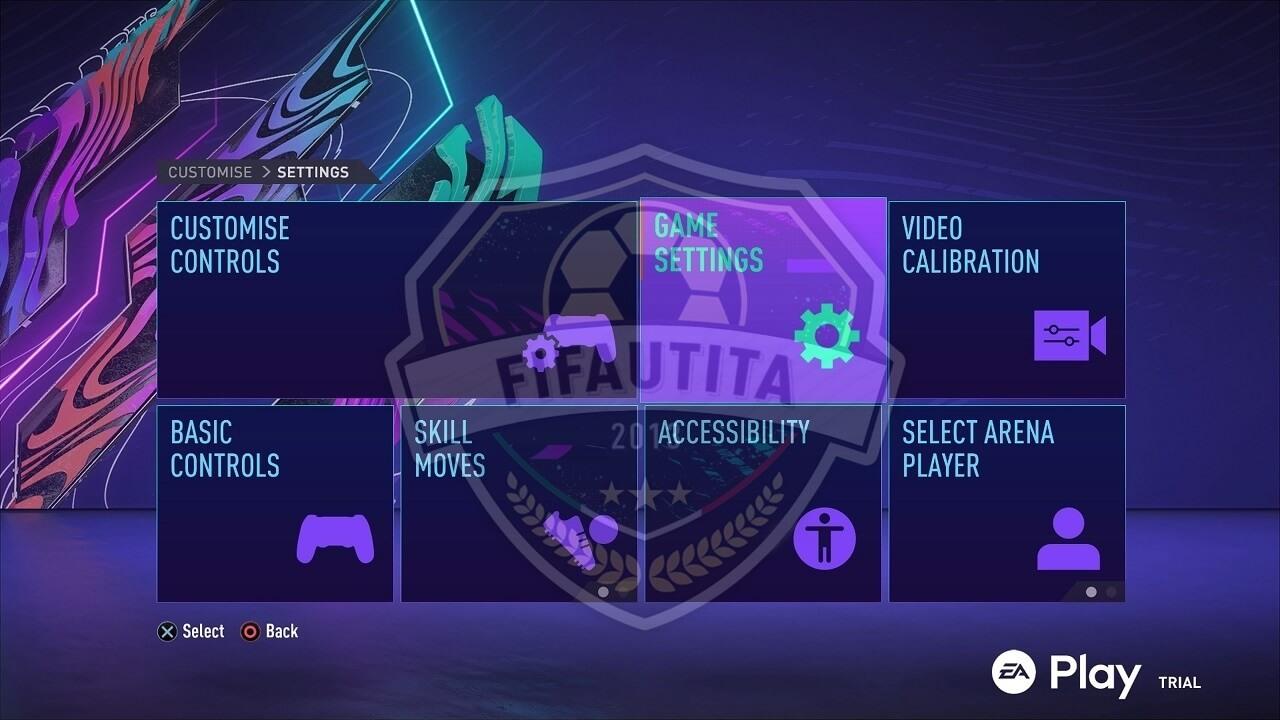 FIFA 21 menù: impostazioni di gioco