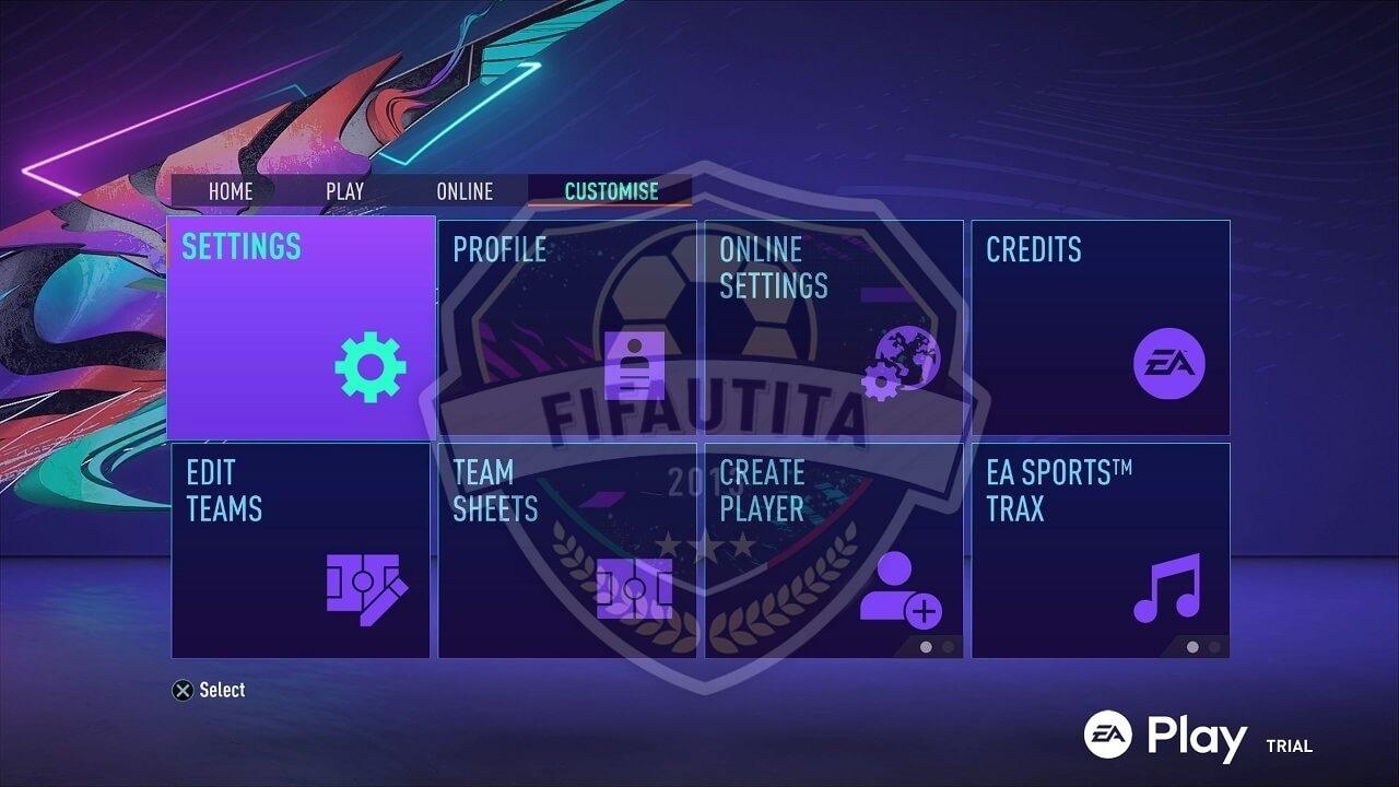 FIFA 21: menù impostazioni