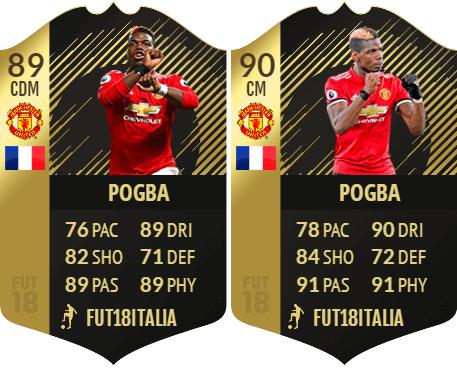 Le carte IF e SIF di Pogba dopo il winter upgrade, diventano 89 e 90 di overall
