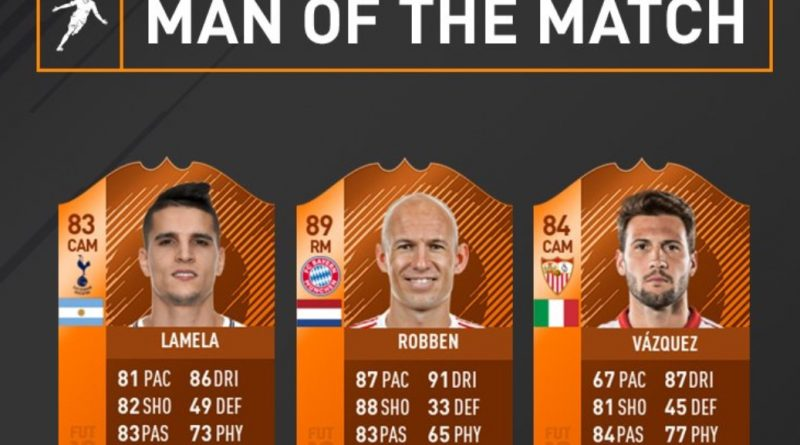 Disponibili le carte Man of the Match di Lamela, Robben e Vazquez