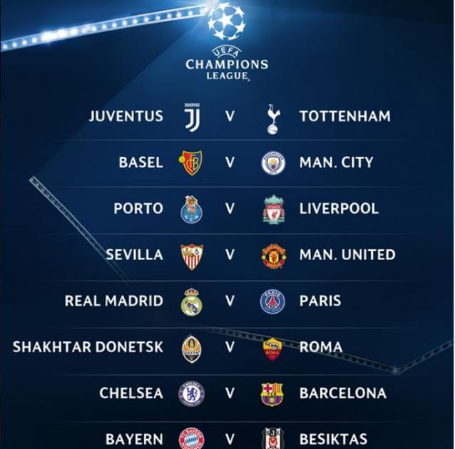 Partite degli ottavi di finale di Champions League 2018, gli accoppiamenti