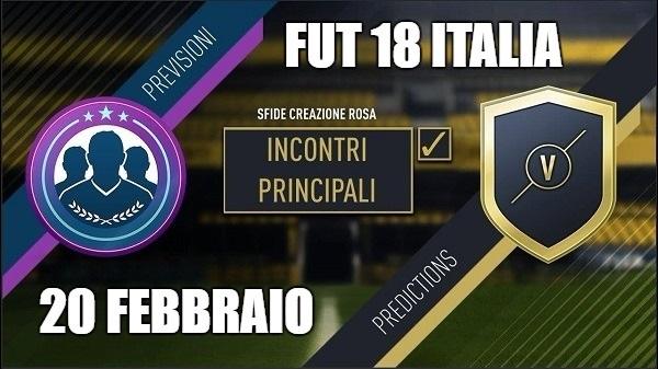 SCR Incontri Principali del 20 febbraio, le predictions di FUT 18 italia