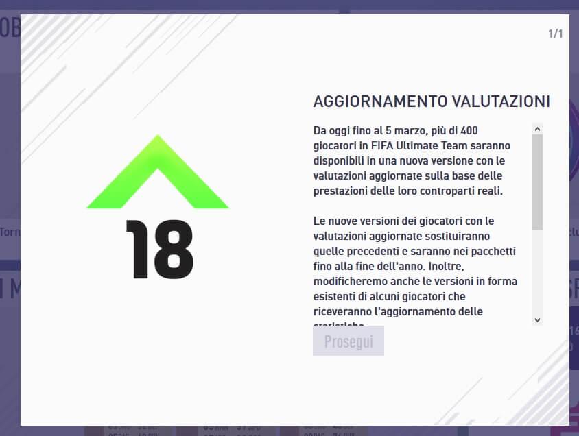 Annuncio dell'arrivo degli Winter Upgrades su FIFA 18