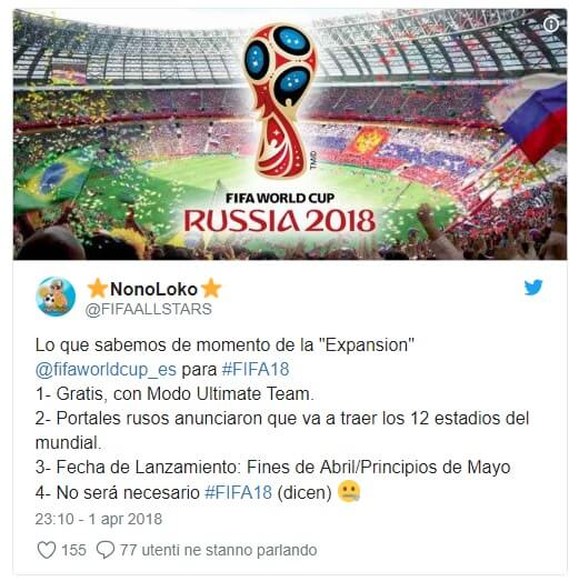 Tweet sull'ipotetico arrivo del gioco dei Mondiali di calcio in Russia 2018