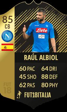 Raul Albiol IF, difensore centrale del Napoli con overall 85