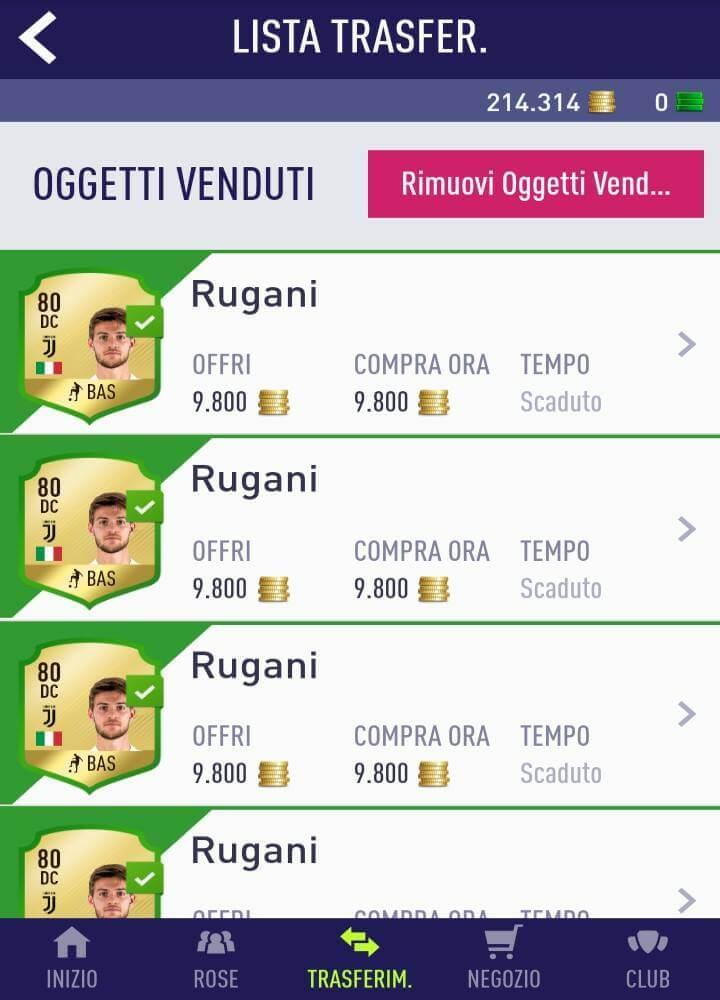 Guadagno di 9.000 crediti netti su ogni carta di Rugani della Juventus