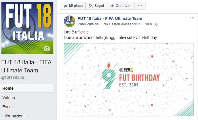 Pagina Facebook di FUT 18 italia, l'evento del FUT Birthday è in arrivo