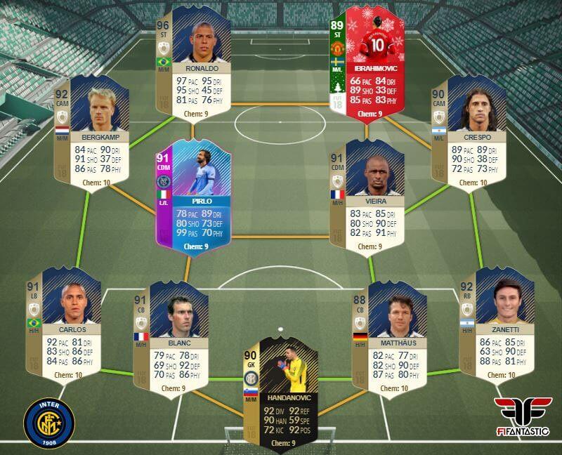 La leggendaria squadra dell'Inter in FIFA 18 fra icone e giocatori attuali