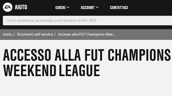 Come richiedere accesso alla Weekend League attraverso il supporto EA Sports self service