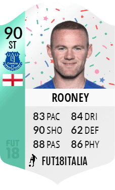 La carta di Wayne Rooney della SBC Premium del compleanno di FIFA 18 Ultimate Team
