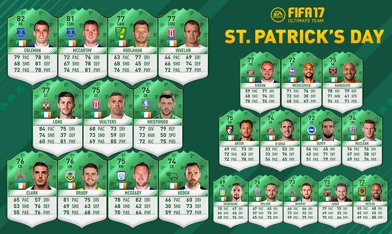 La squadra dedicata a San Patrizio in FIFA 17 Ultimate Team
