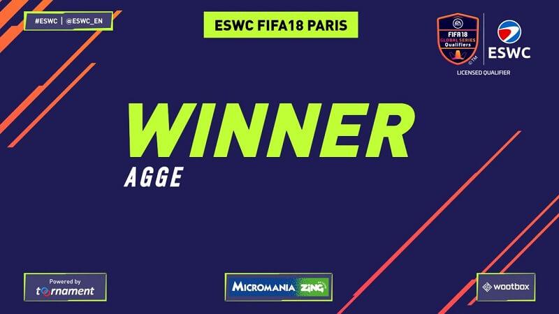 Agge, vincitore del torneo ESWC di FIFA 18 su Play Station 4 a Parigi
