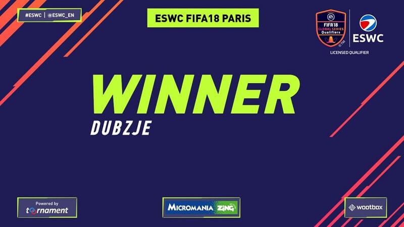 Dubzje, vincitore del torneo ESWC di FIFA 18 su XBOX One a Parigi
