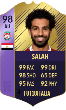 Salah POTY su FIFA 18 Ultimate Team, overall 98