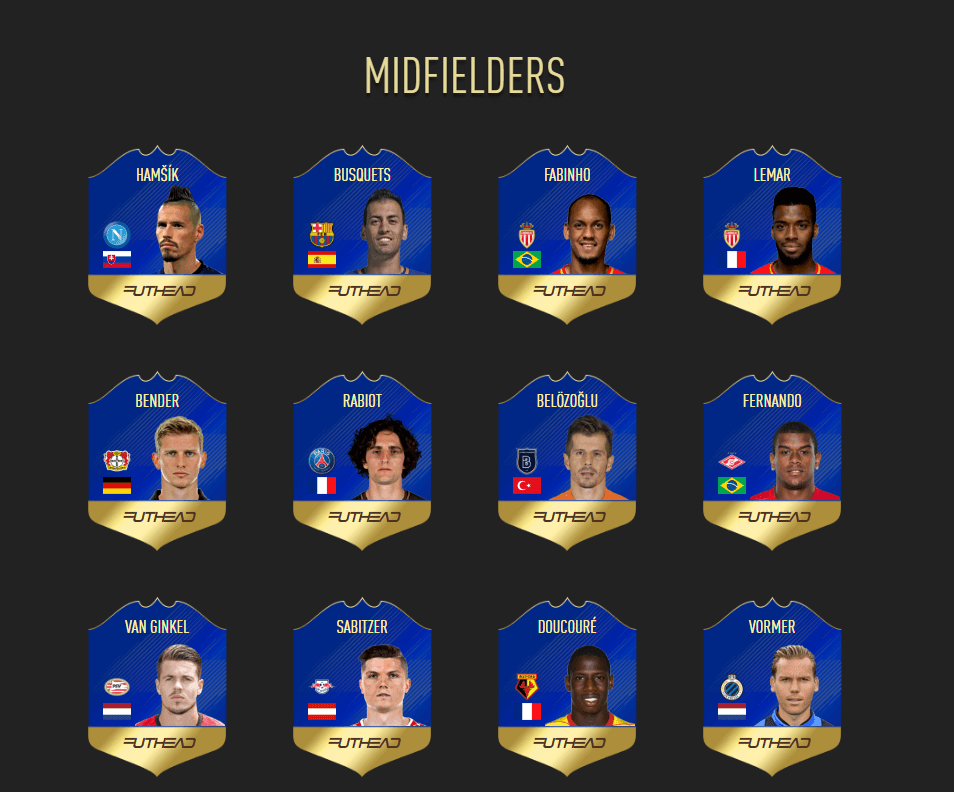 Centrocampisti candidati per il community Team of the Season in FIFA 18