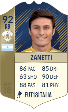 Javier Zanetti Icona PRIME su FIFA 18 - Overall 92