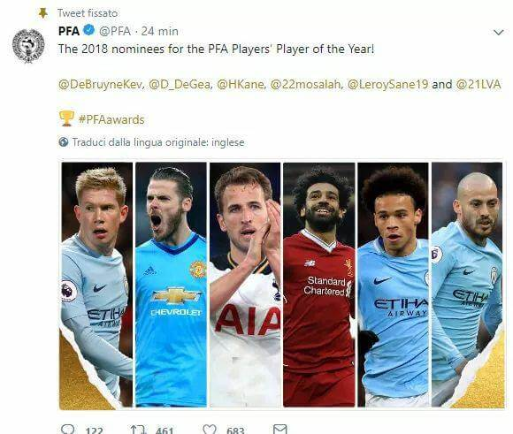 Candidati al premio di PFA Player of the Year in Barclays Premier League