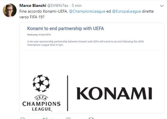 Tweet di DrWhi7es, termina l'accordo fra UEFA e Konami