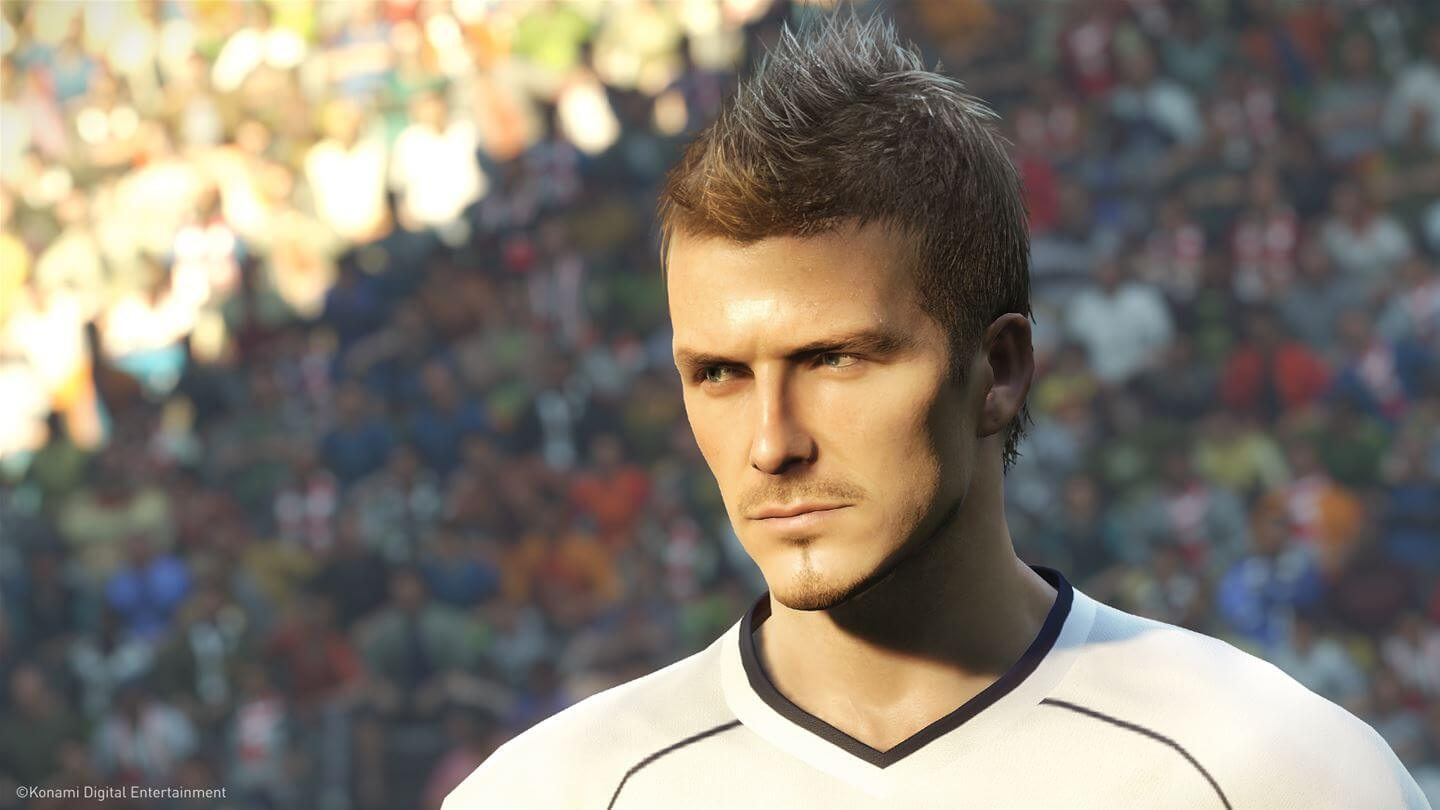 Primo piano di David Beckham in Pro Evolution Soccer 2019