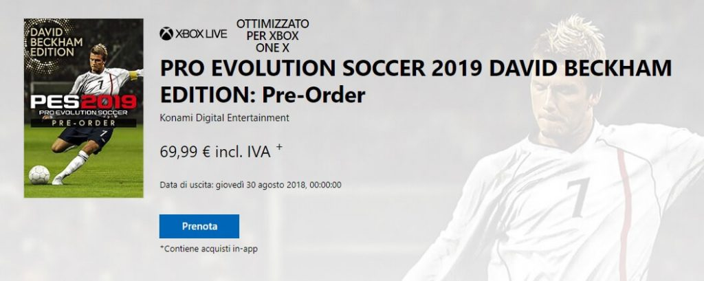 Pre-order di Pro Evolution Soccer 2019 David Beckham Edition