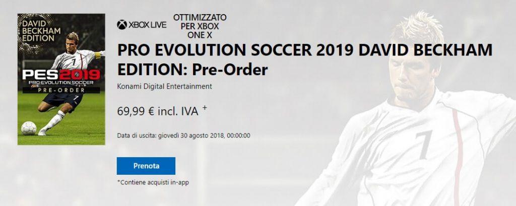 Pre-order di Pro Evolution Soccer 2019 David Beckham Edition