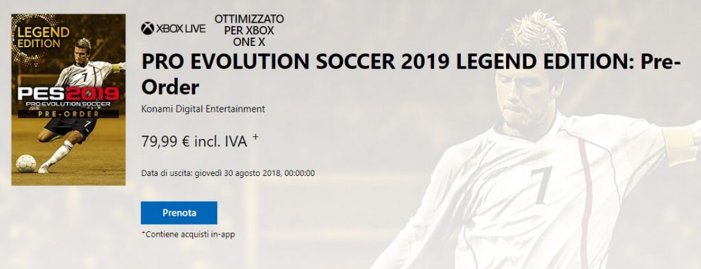 Pro Evolution Soccer 2019 Legend Edition, David Bechkam in copertina per il titolo Konami