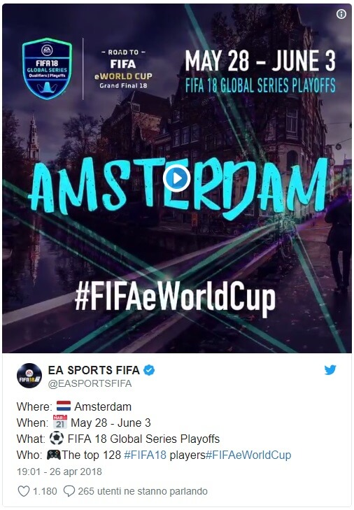 Tweet di EA Sports che comunica la location del Mondiale eSports