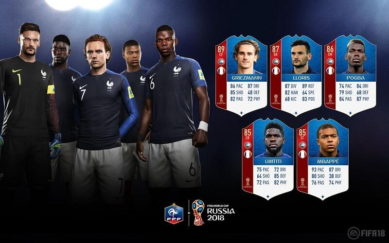 Valutazione dei calciatori della Francia in FUT 18 World Cup