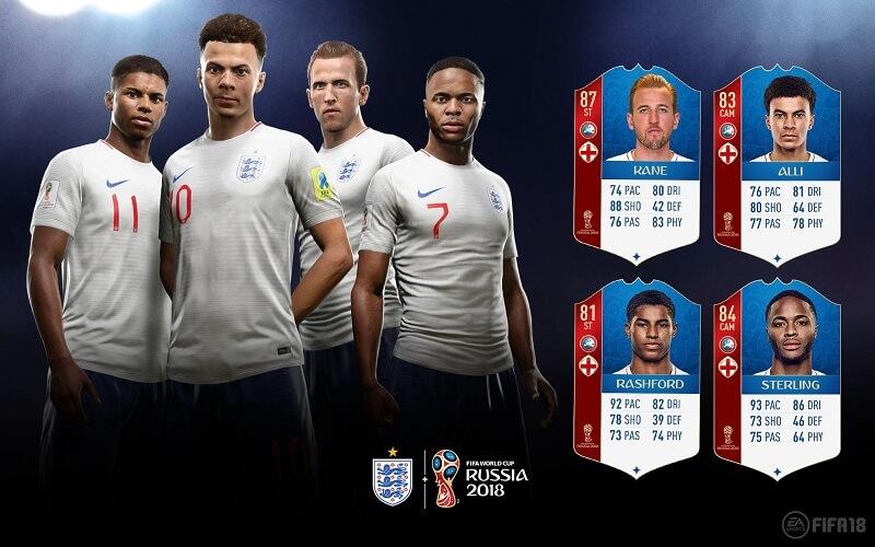 Valutazione dei calciatori dell'Inghilterra in FUT 18 World Cup