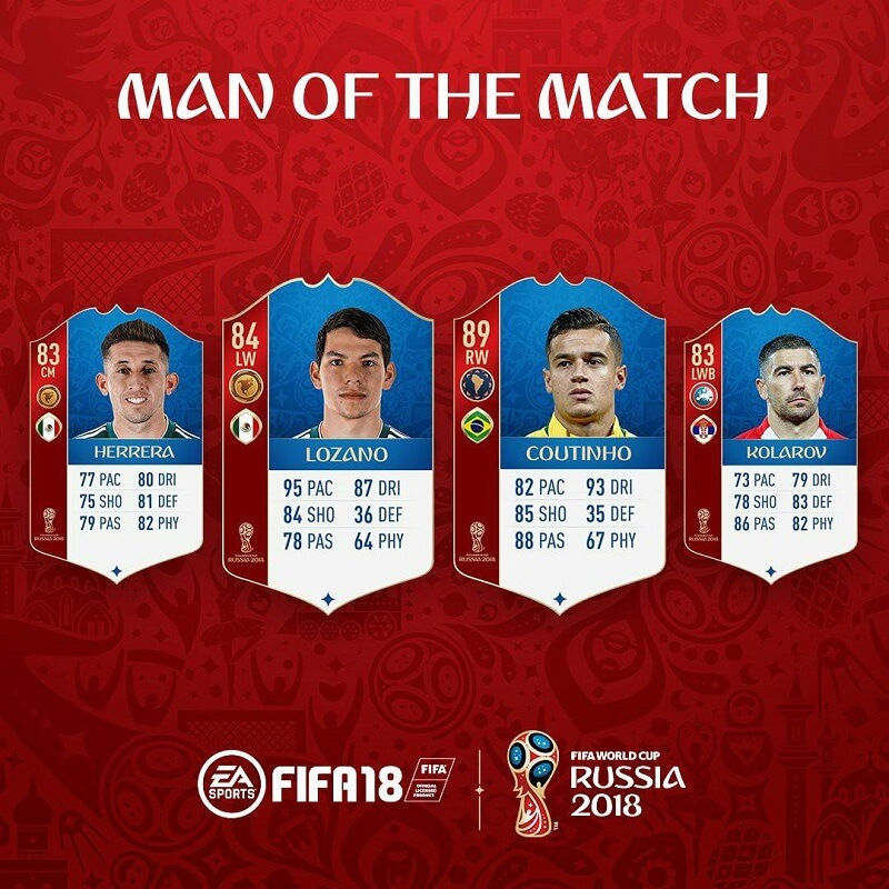 Coutinho e Lozano fra le carte MOTM in FUT World Cup