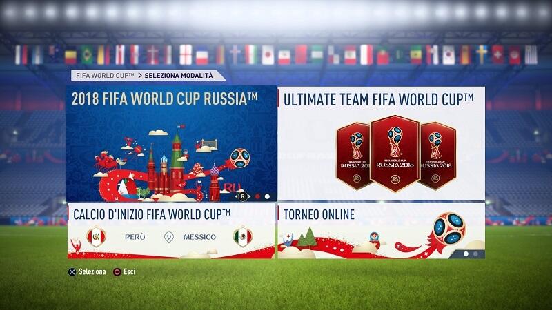 FIFA 18 World Cup, il menù dell'aggiornamento gratuito