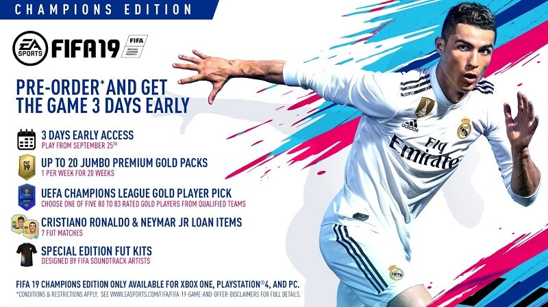 FIFA 19 Champions Edition dal 28 settembre su PS4, XBOX One, PC e Switch