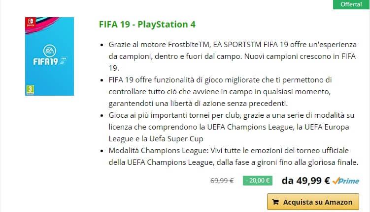 FIFA 19 in offerta per il preordine da 49 euro su Amazon