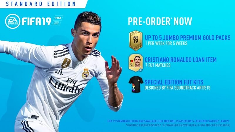 FIFA 19 standard edition su PS4, XBOX One, PC e Switch