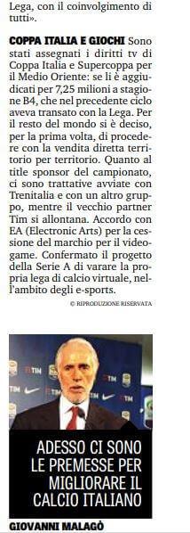 L'intervista a Giovanni Malagò alla Gazzetta dello Sport