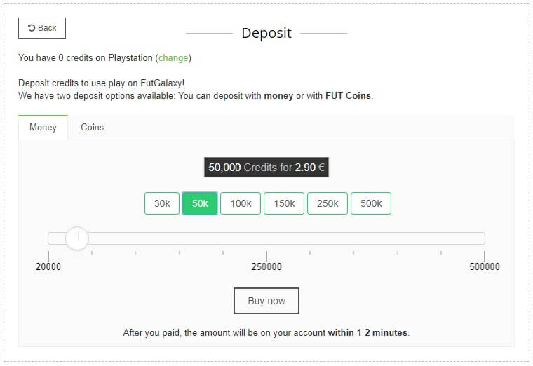 Deposito crediti su FUTgalaxy attraverso l'acquisto con soldi reali