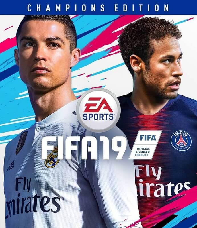 Copertina di FIFA 19 Champions Edition con Cristiano Ronaldo e Neymar Jr